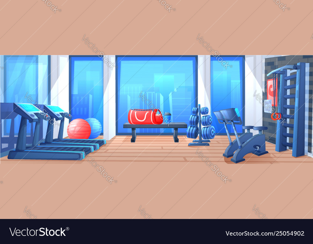 Modern fitness club gym cartoon vector interior vector free download