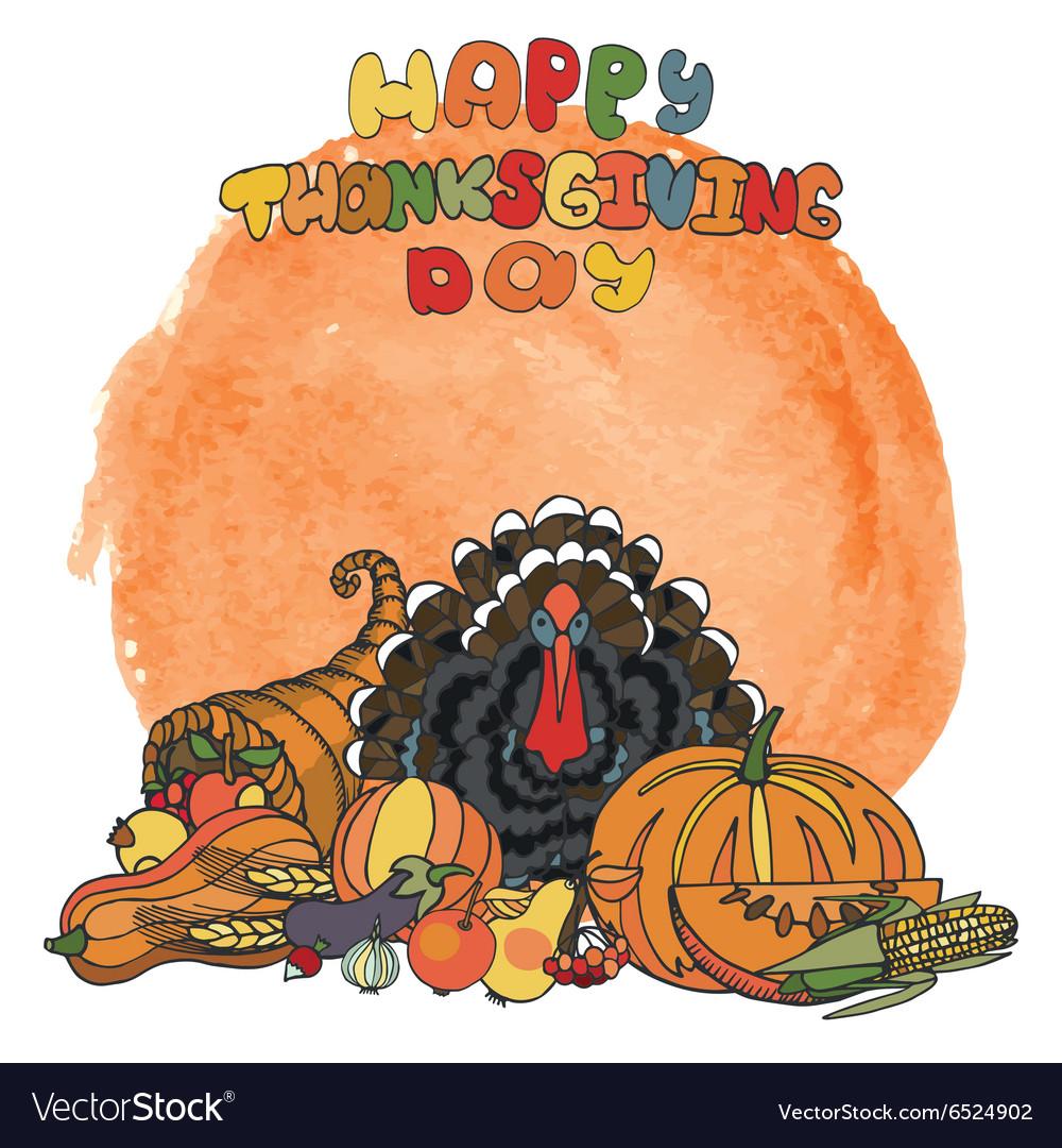 Thanksgiving dayWatercolor splashDoodle harvest