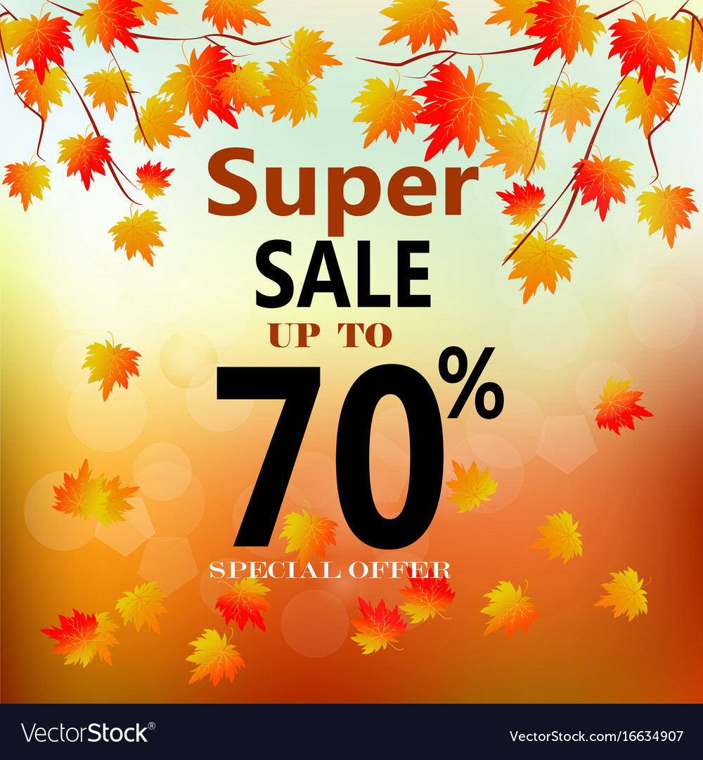 Autumn sale banner with colorful fall leaves
