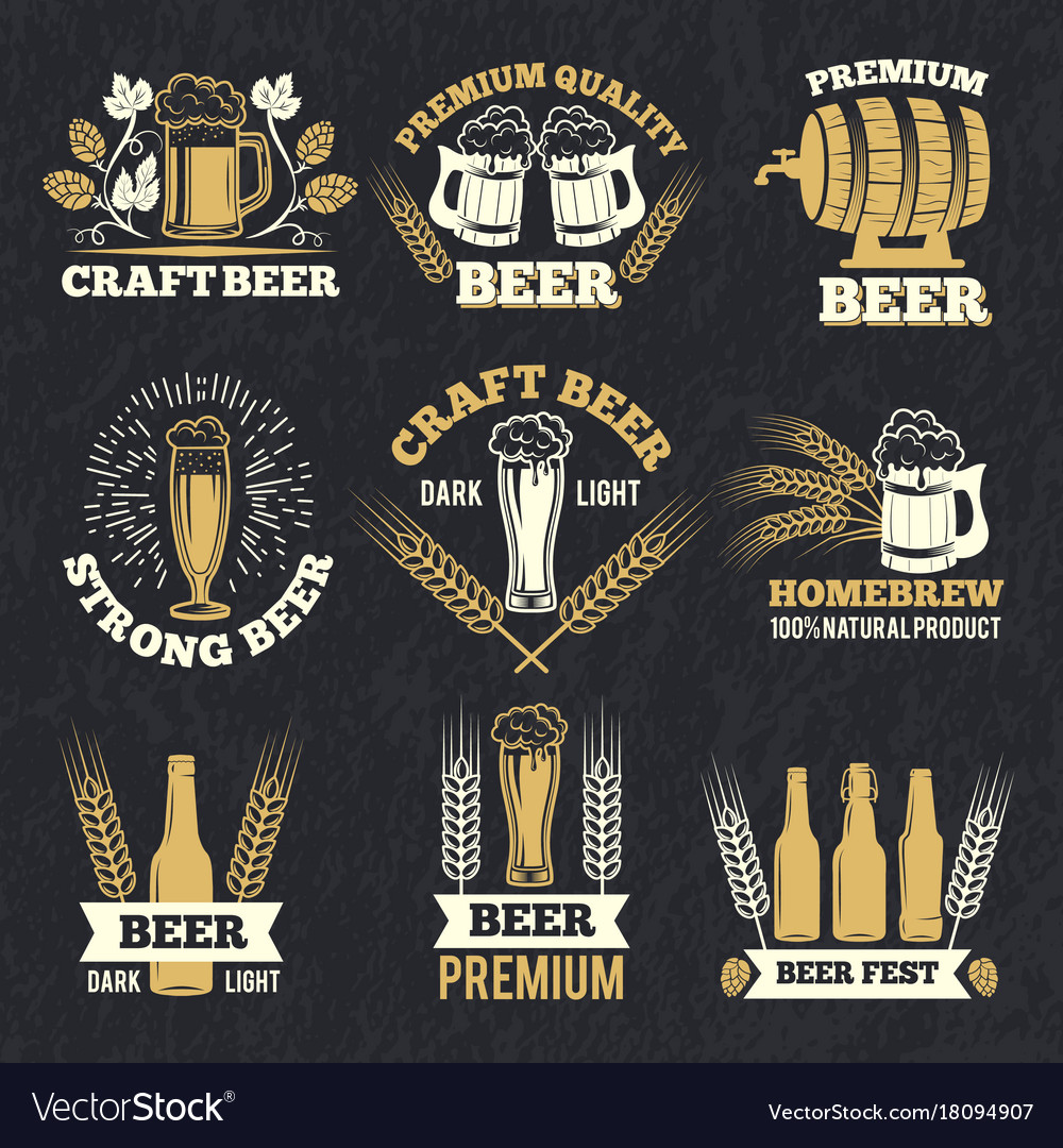 Brewery labels isolate on dark background badges