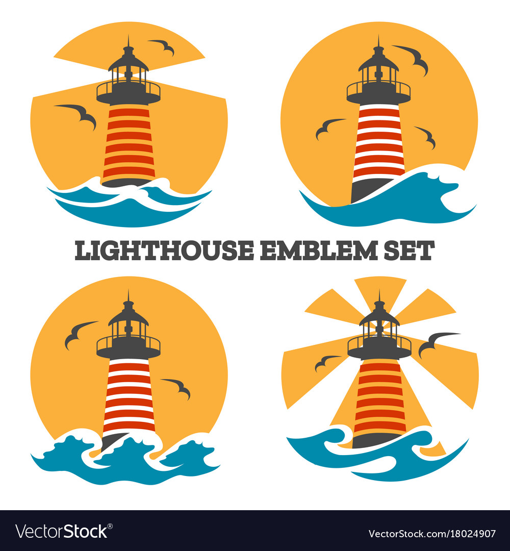 Colorful lighthouse emblem set