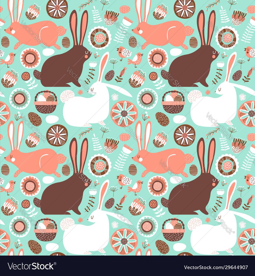 Easter rabbit spring doodle seamless pattern