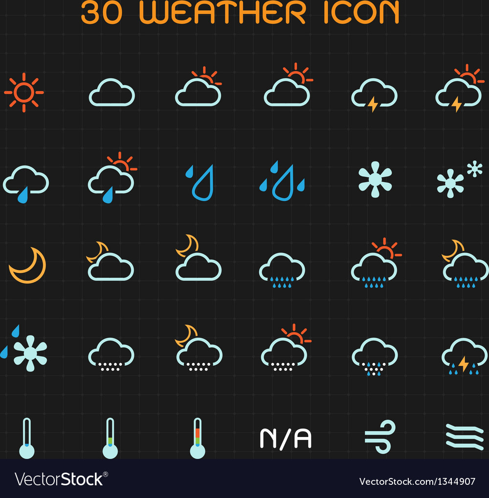 Full color weather icon set
