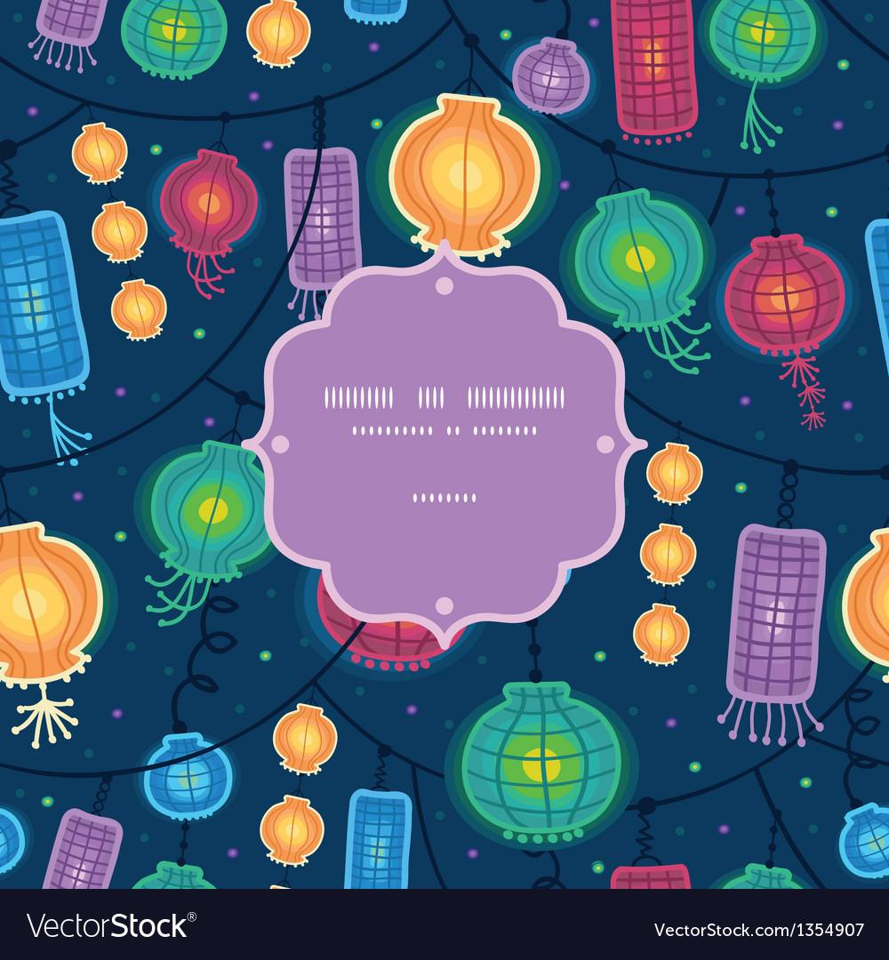 Glowing lanterns frame seamless pattern background