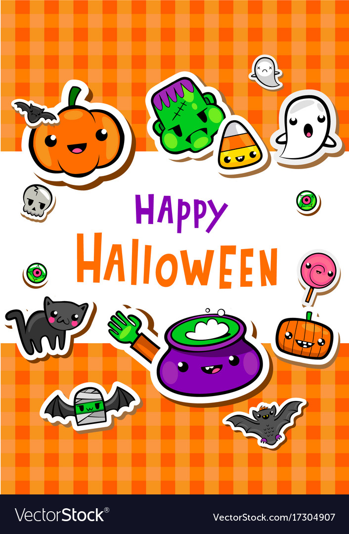 Greeting card with cute halloween