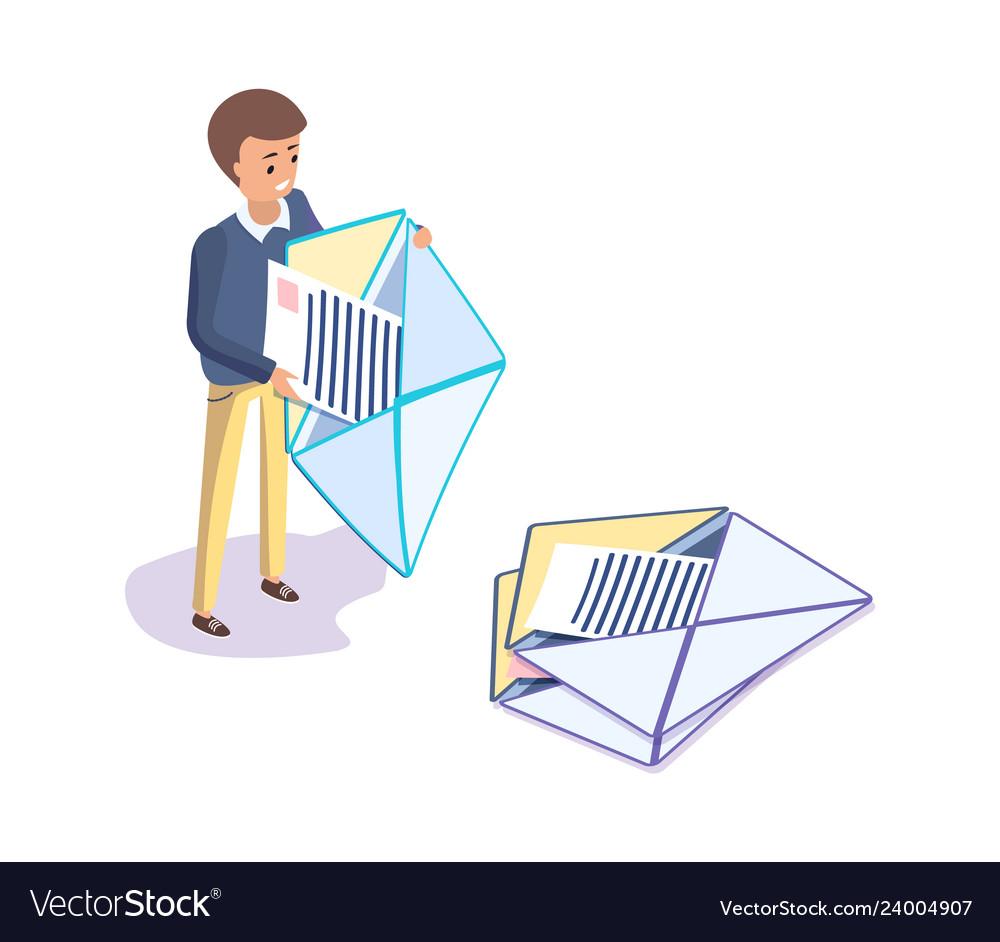 Man holding letter papers in envelopes