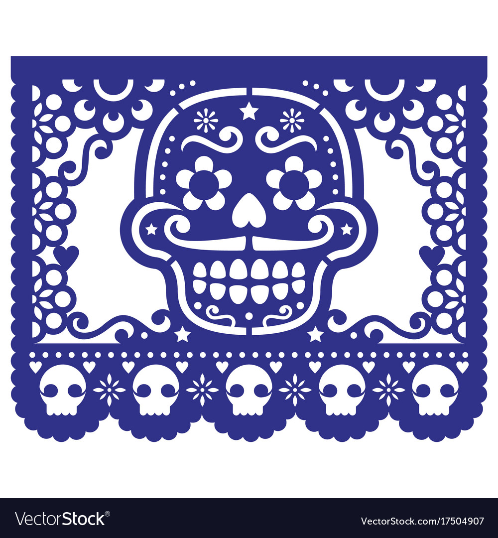 Mexican sugar skull design papel picado