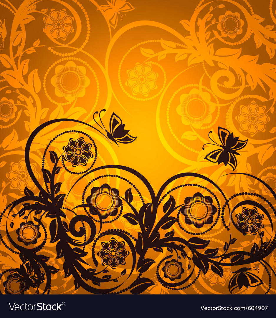 Orange floral ornament with butterfly
