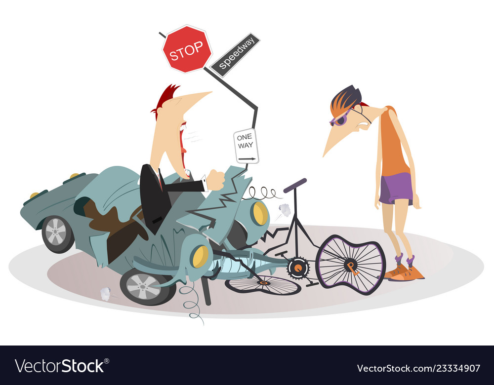 Road Accident Driver Cyclist And Broken Bike