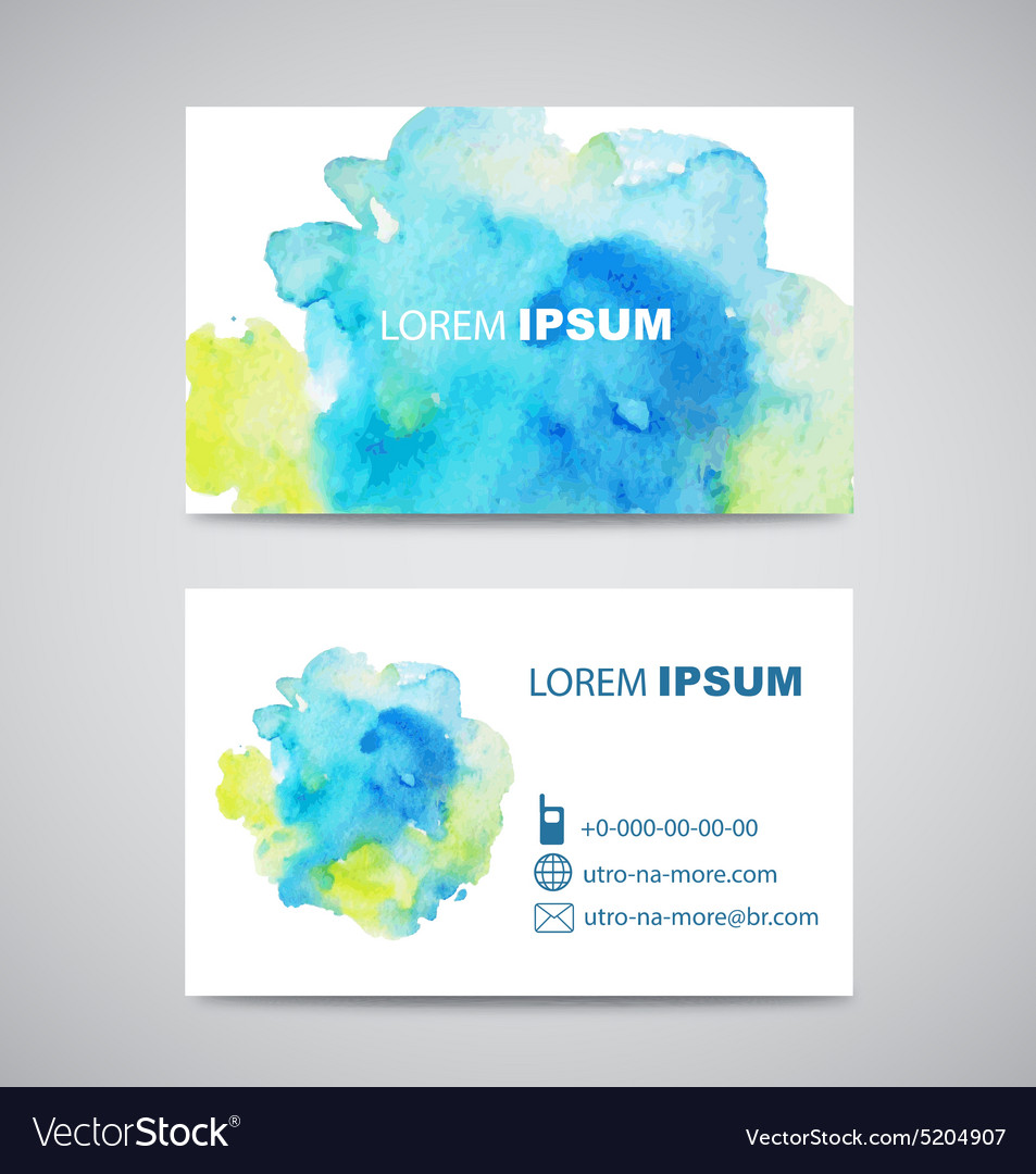 Set of Banners with green and blue Watercolor