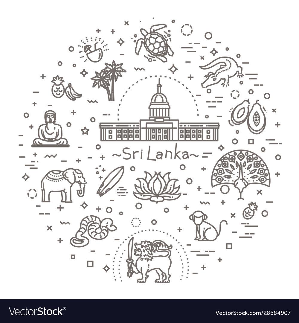 Sri lanka vacation icons set icons