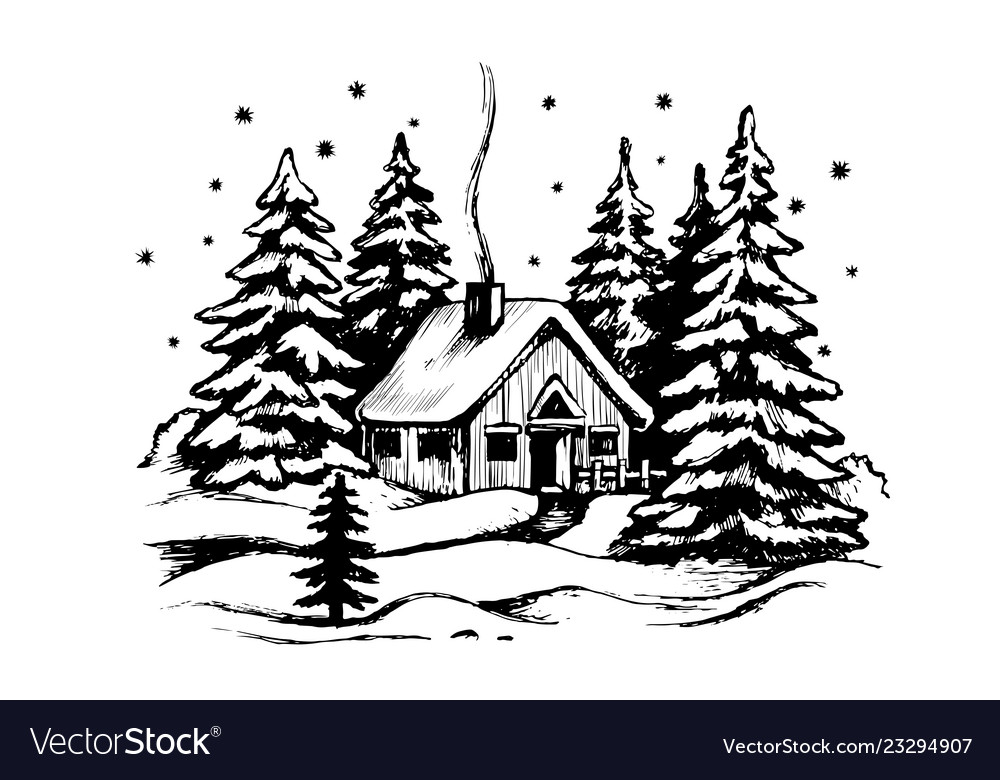 Wooden house in the winter forest
