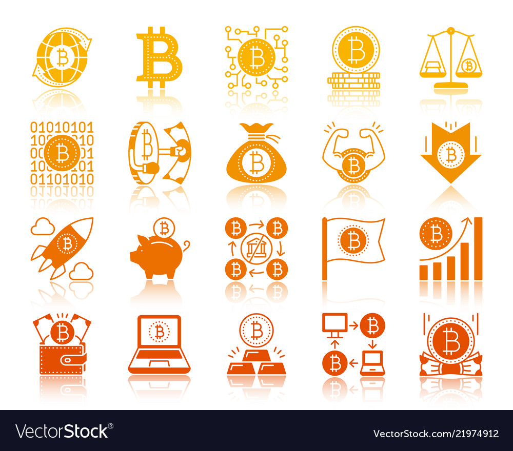Bitcoin finance gold glyph icons set