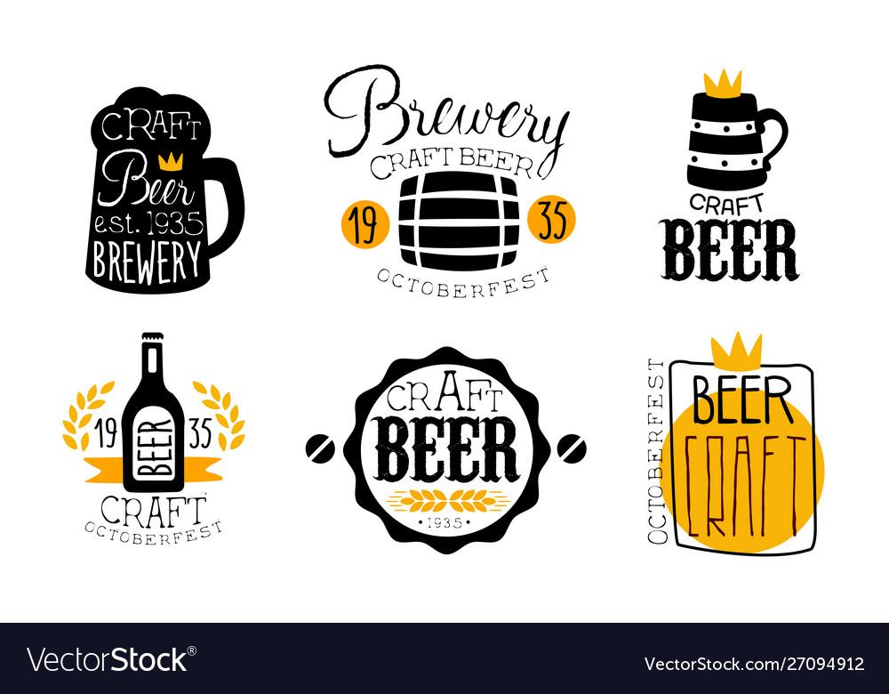 Brewery craft beer retro labels set oktoberfest