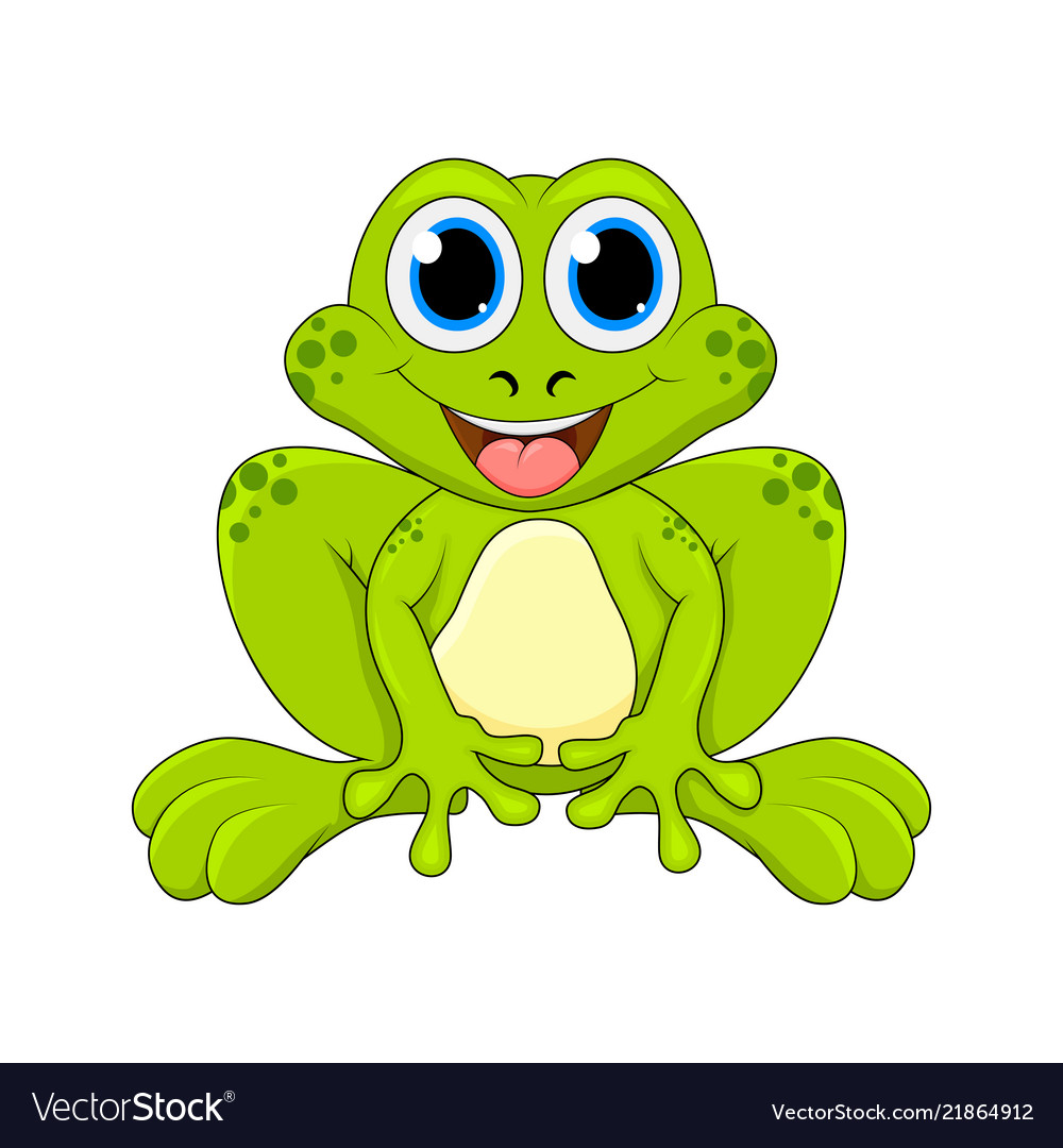 Cartoon frog cute character isolated on white