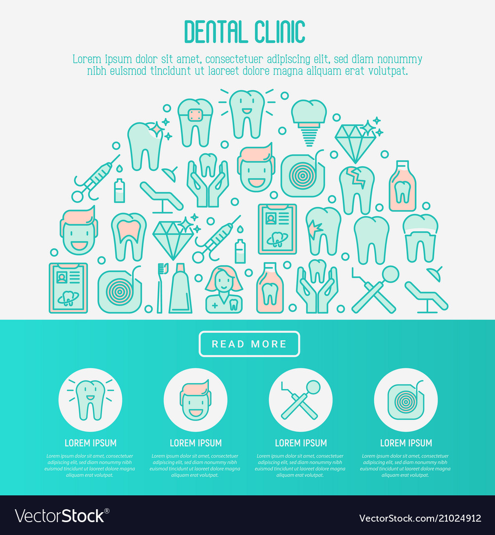 Dental clinic concept with thin line icons