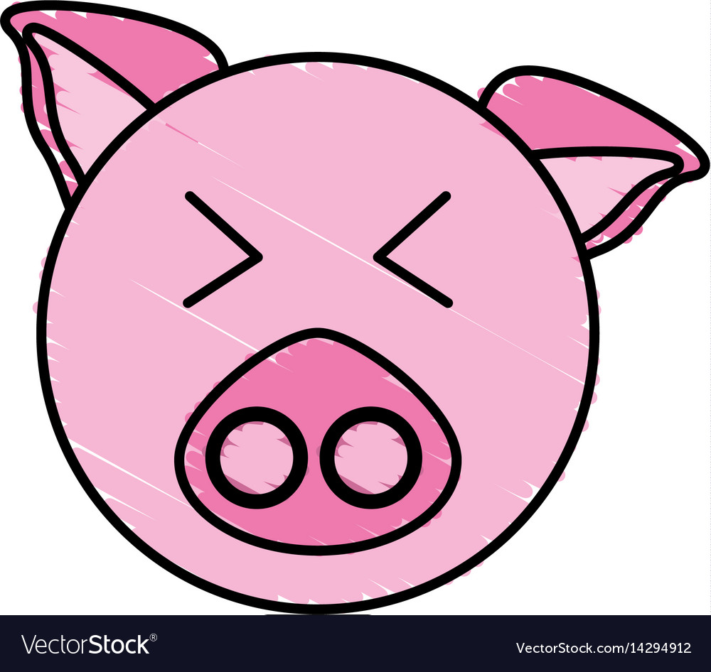 Drawing Piggy Face Animal Royalty Free Vector Image