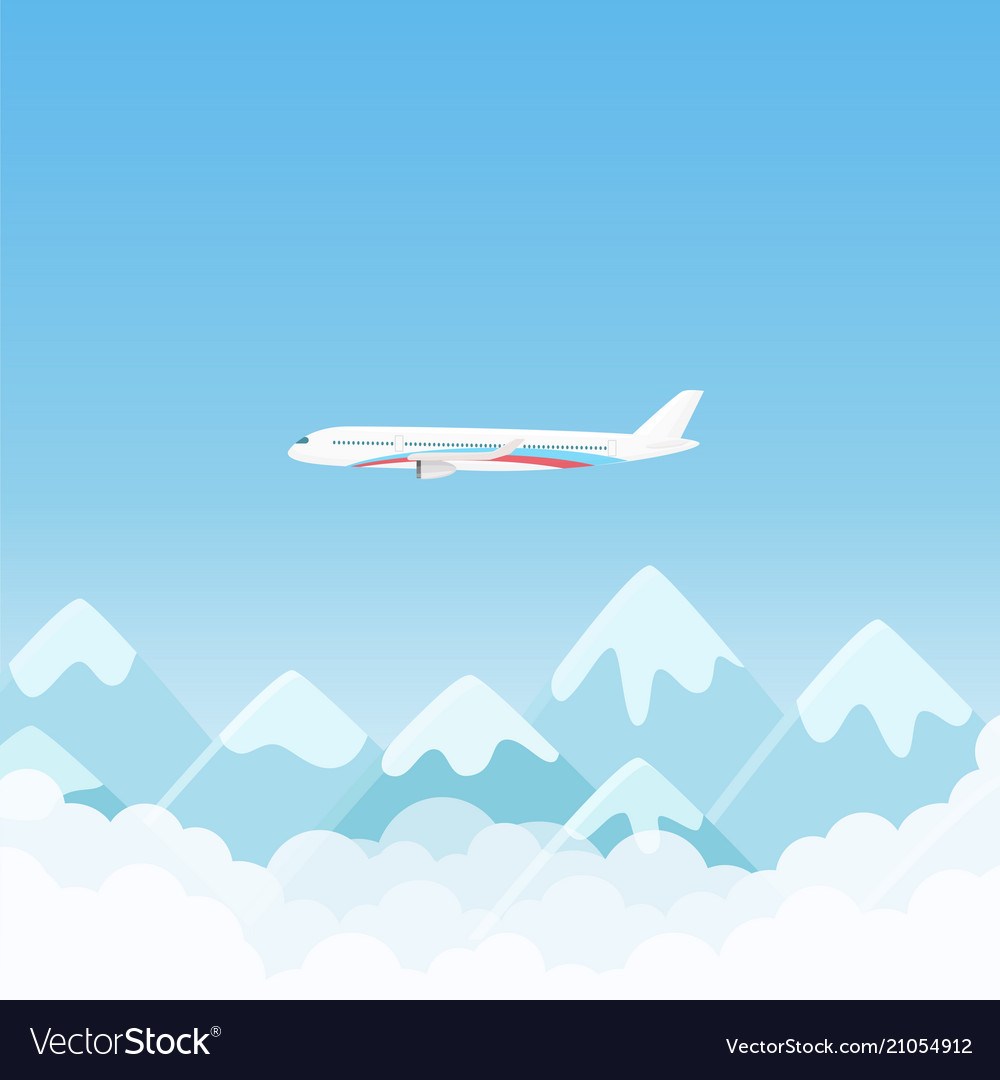 Flat simple travel banner with aircraft with