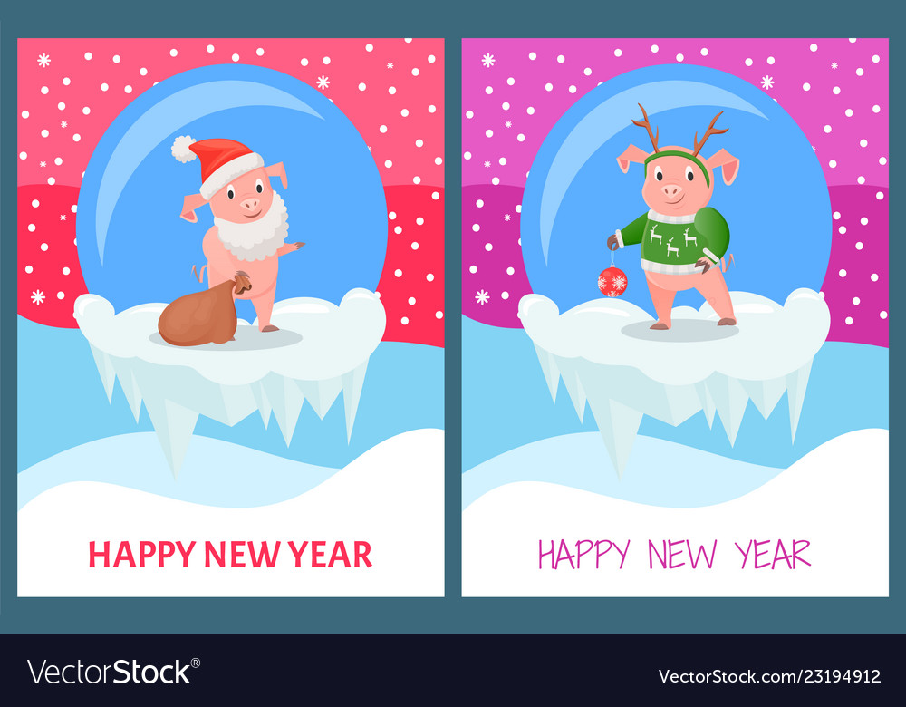 Happy new year pig wearing knitted sweater print
