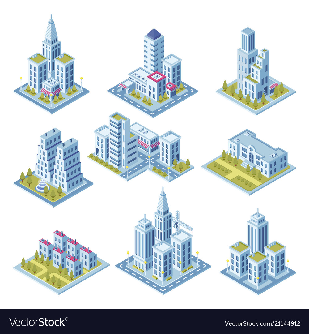 Isometric city architecture cityscape building