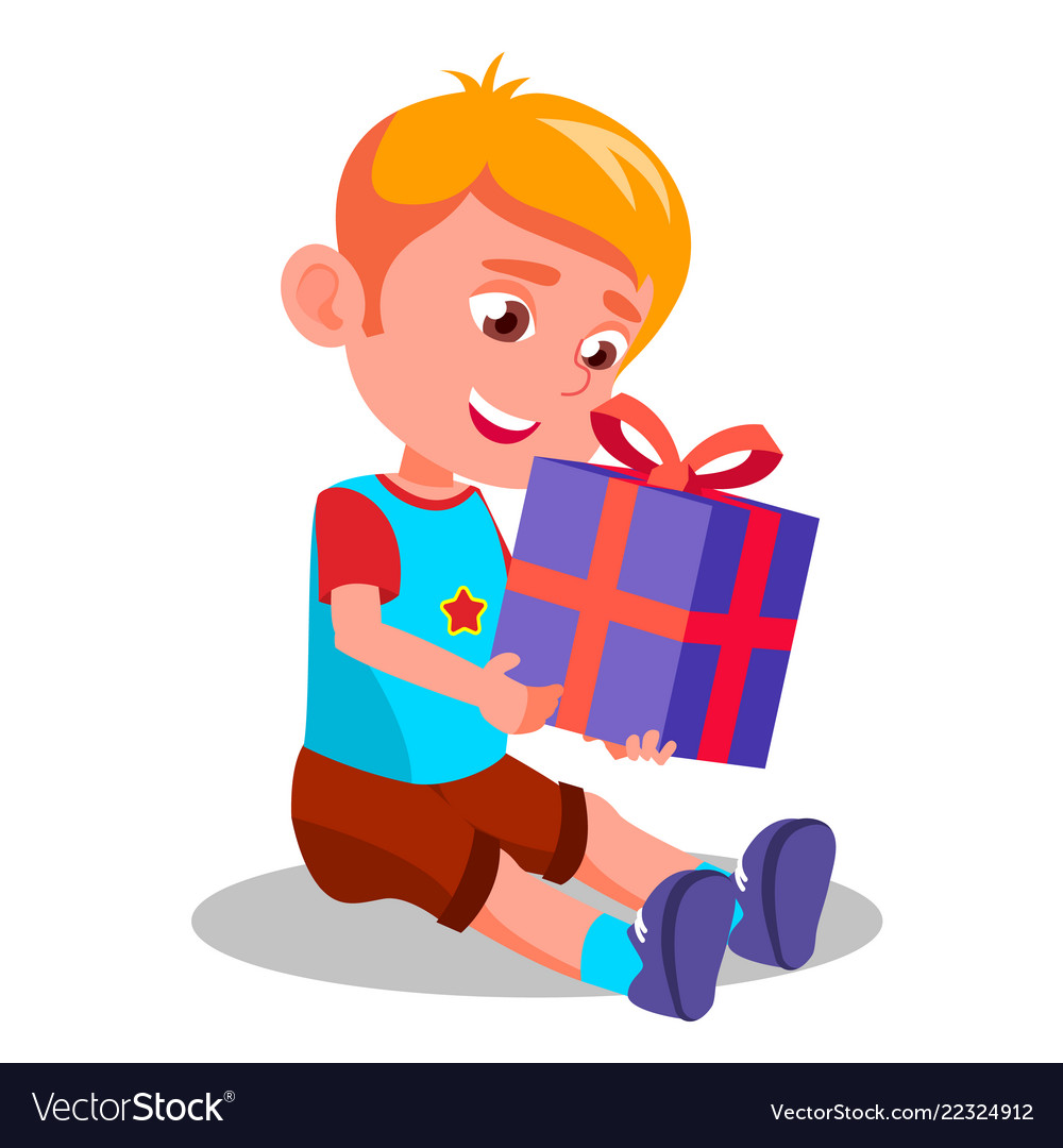 Little boy opening gift christmas box Royalty Free Vector