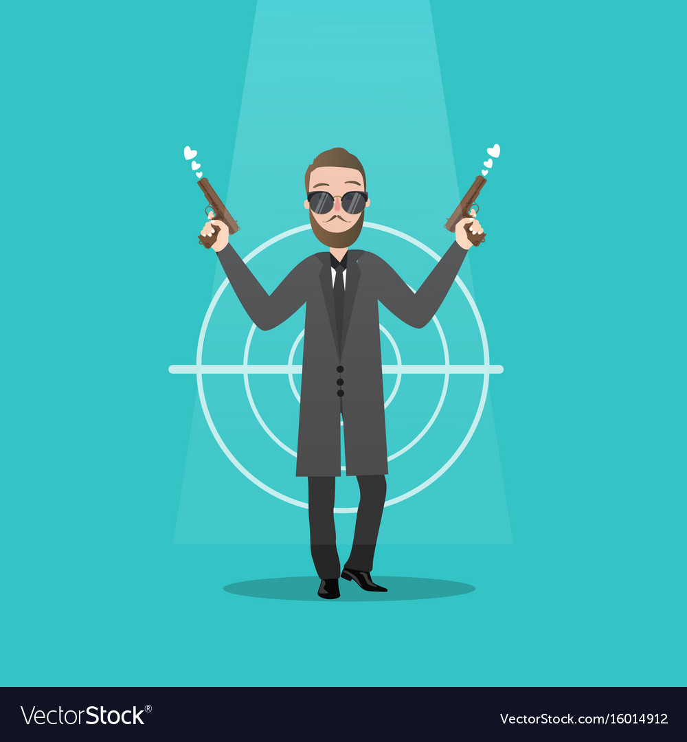 Man holding two guns serious gangster criminal vector image