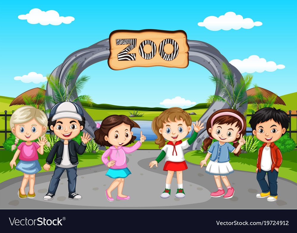 Many children visiting zoo