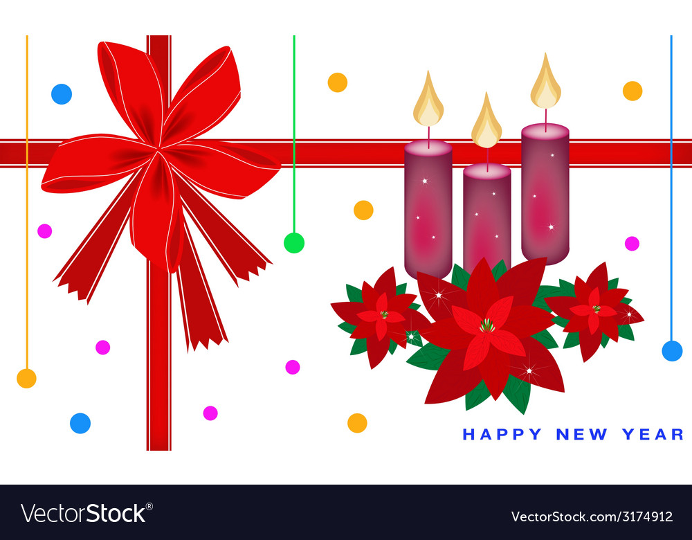 new year card with poinsettia flower and candles vector image