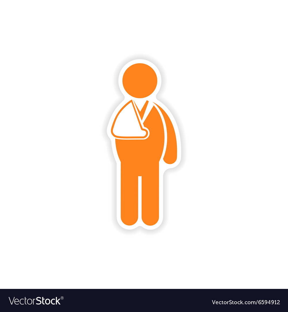 Paper sticker man with broken arm on white vector image