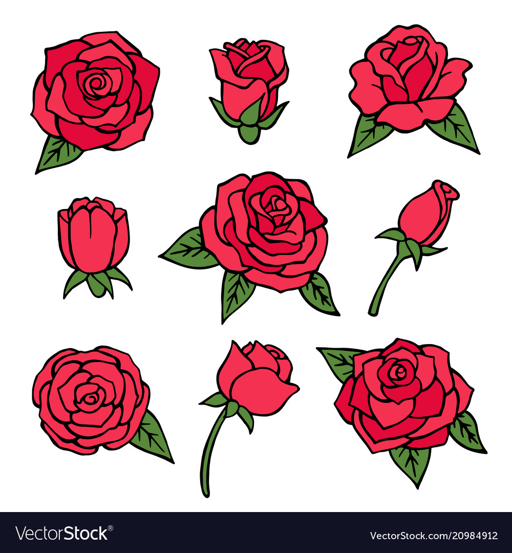 Pictures set of various roses love symbols