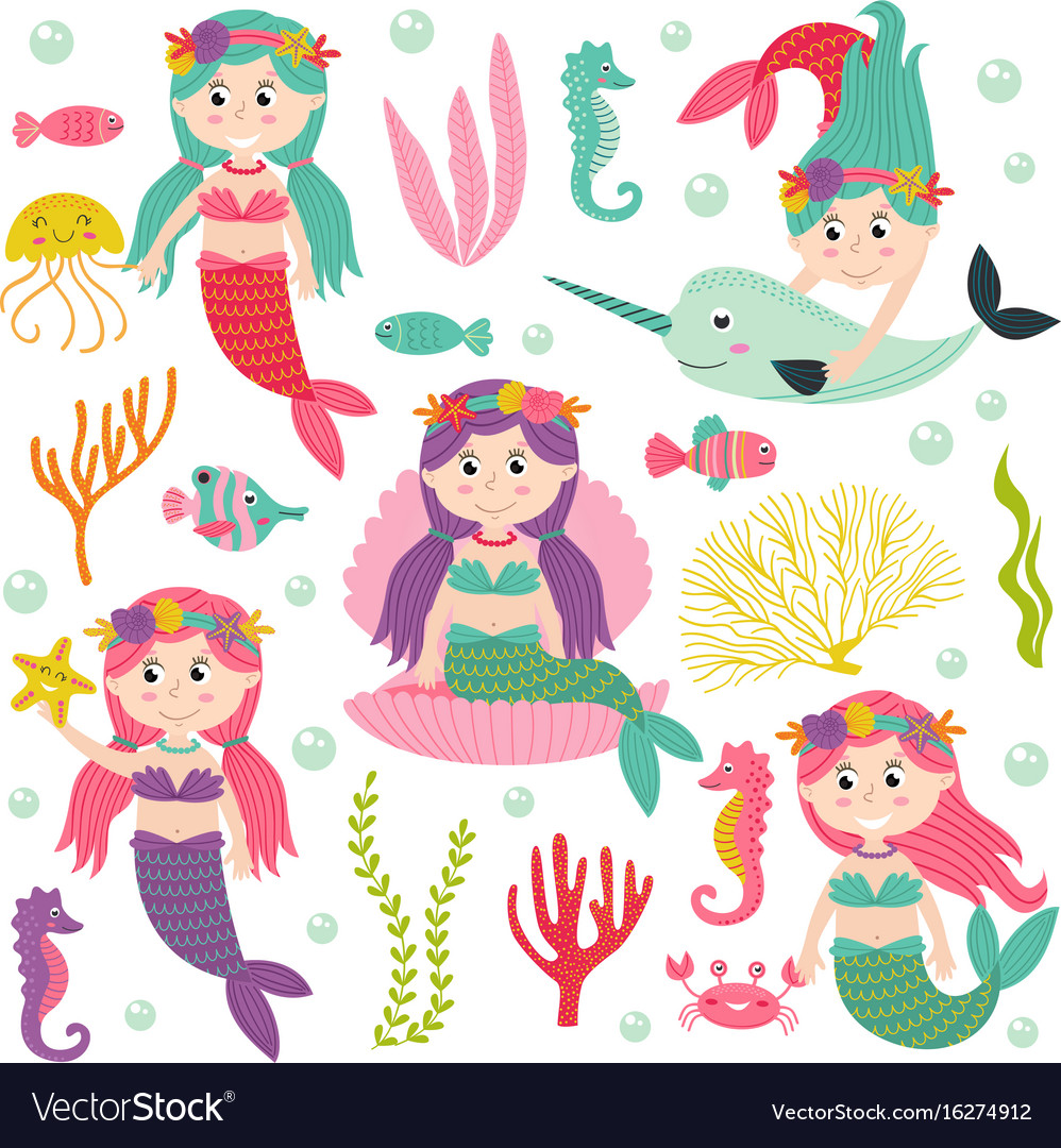 Set of isolated mermaid with marine animals