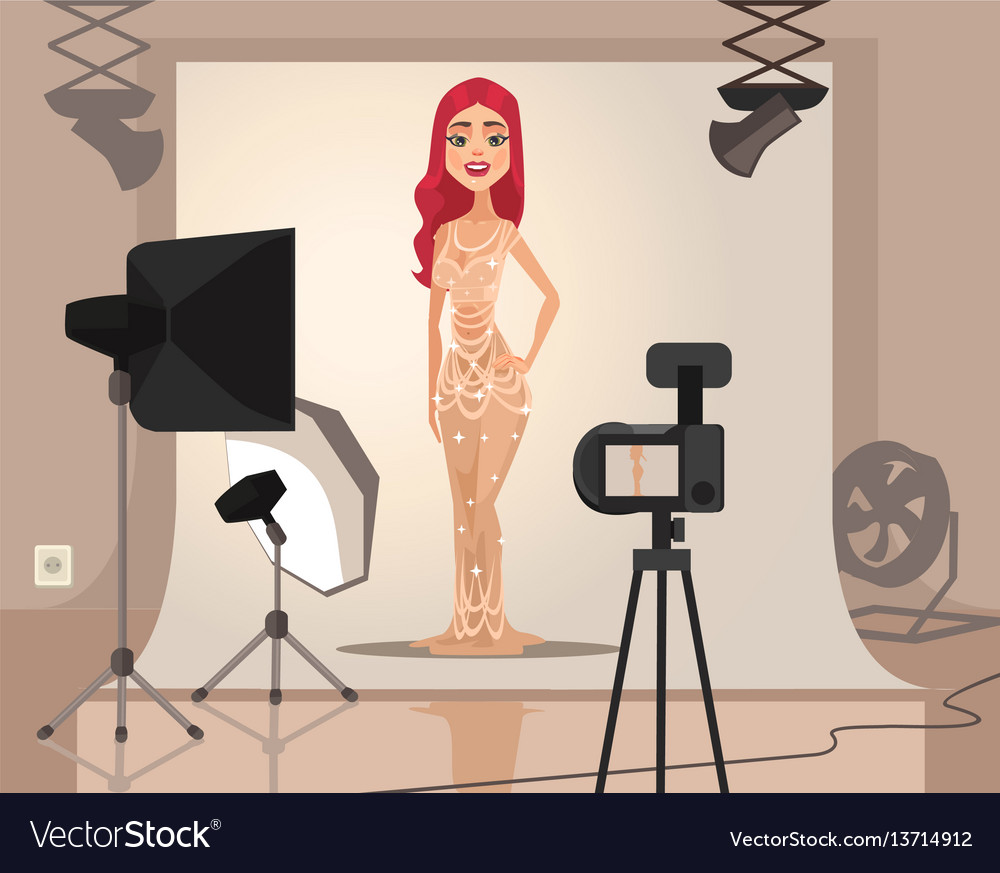 Smiling woman model character shooting vector image