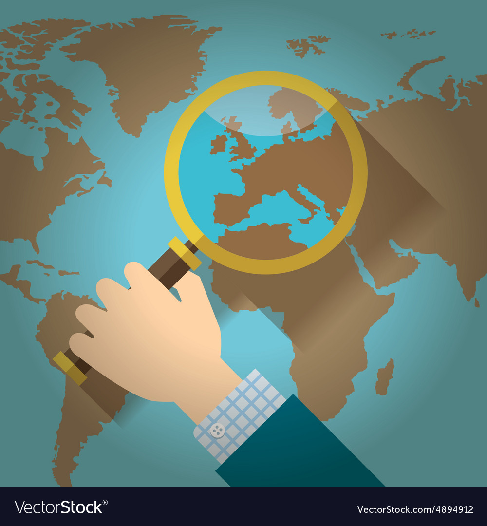 World map countries with europe magnifying glass vector image gumiabroncs Choice Image