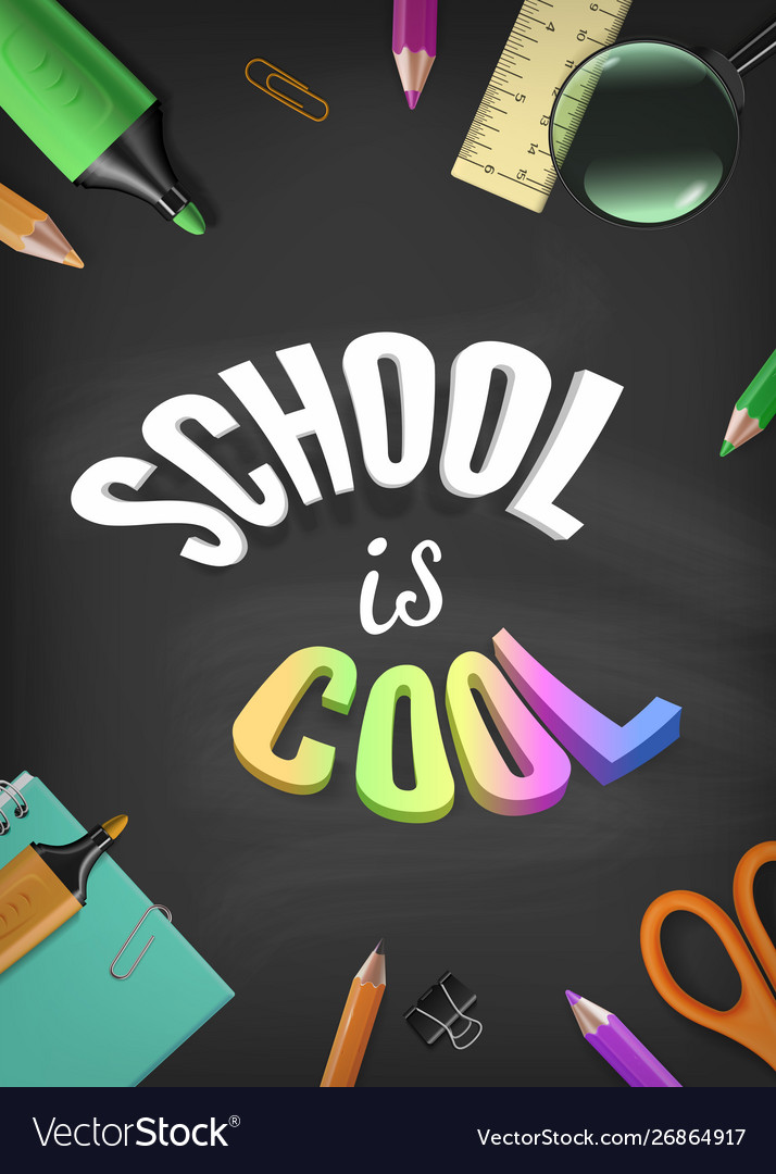 Back to school colorful template with