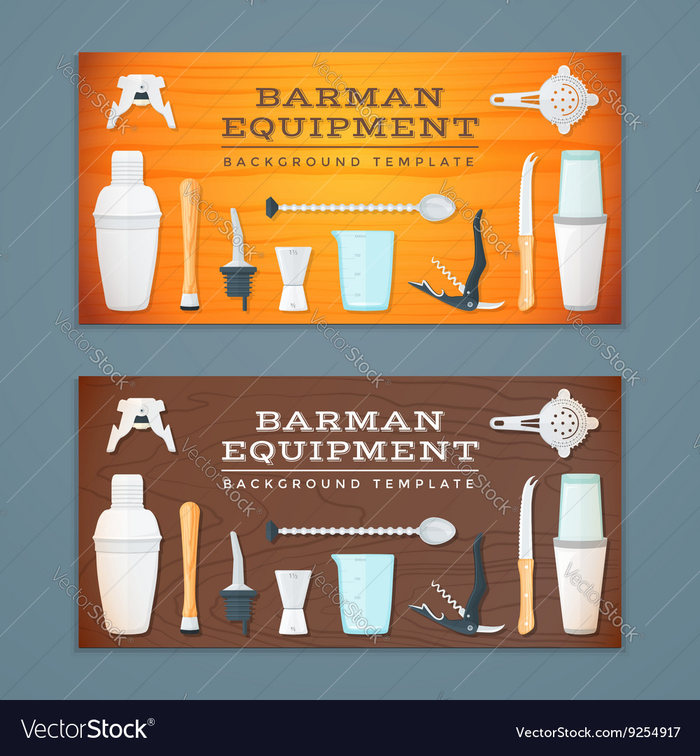 Barman tools banner backdrops templates vector image