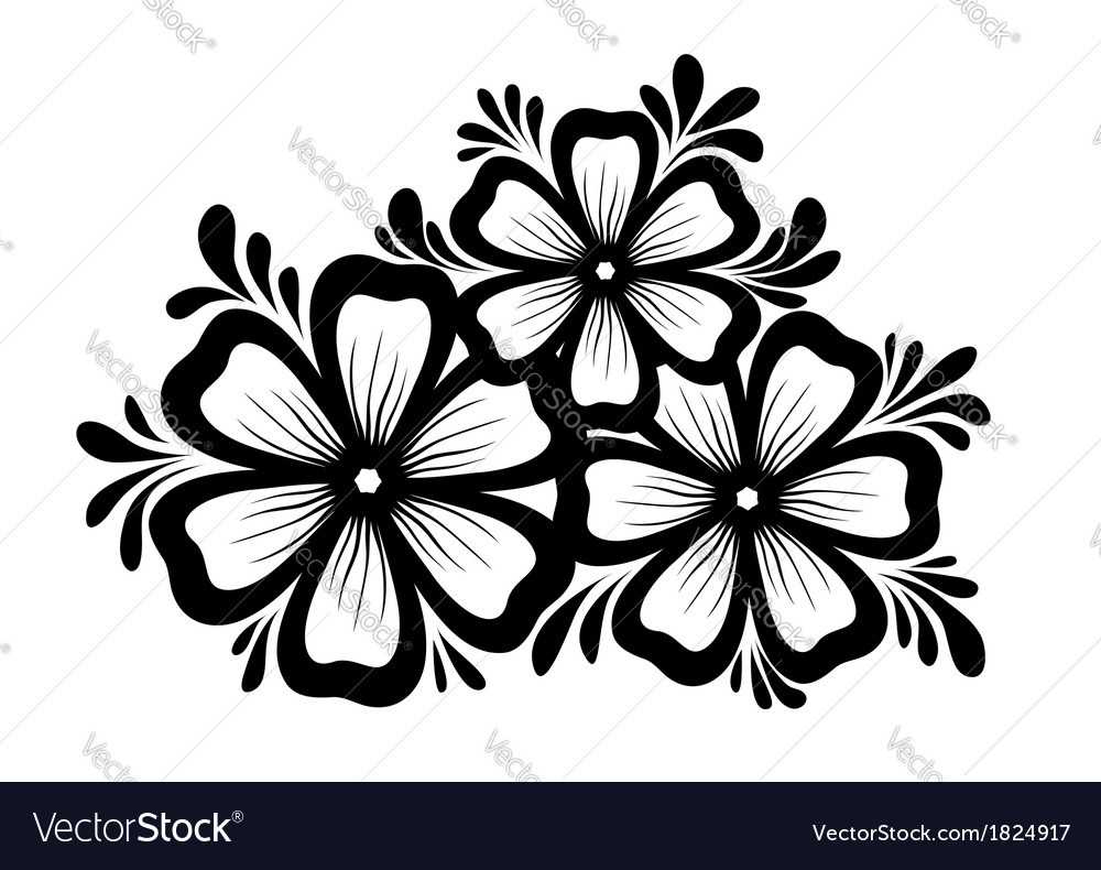 Black and white flowers and leaves royalty free vector image black and white flowers and leaves vector image mightylinksfo