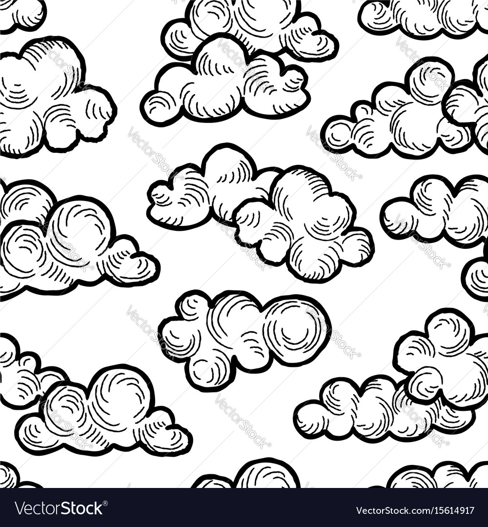 Cloud pattern doodle line art cloudy sky vector image