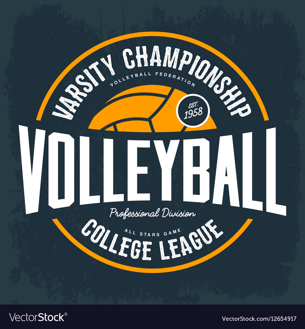 College tournament emblem for volleyball sport vector image