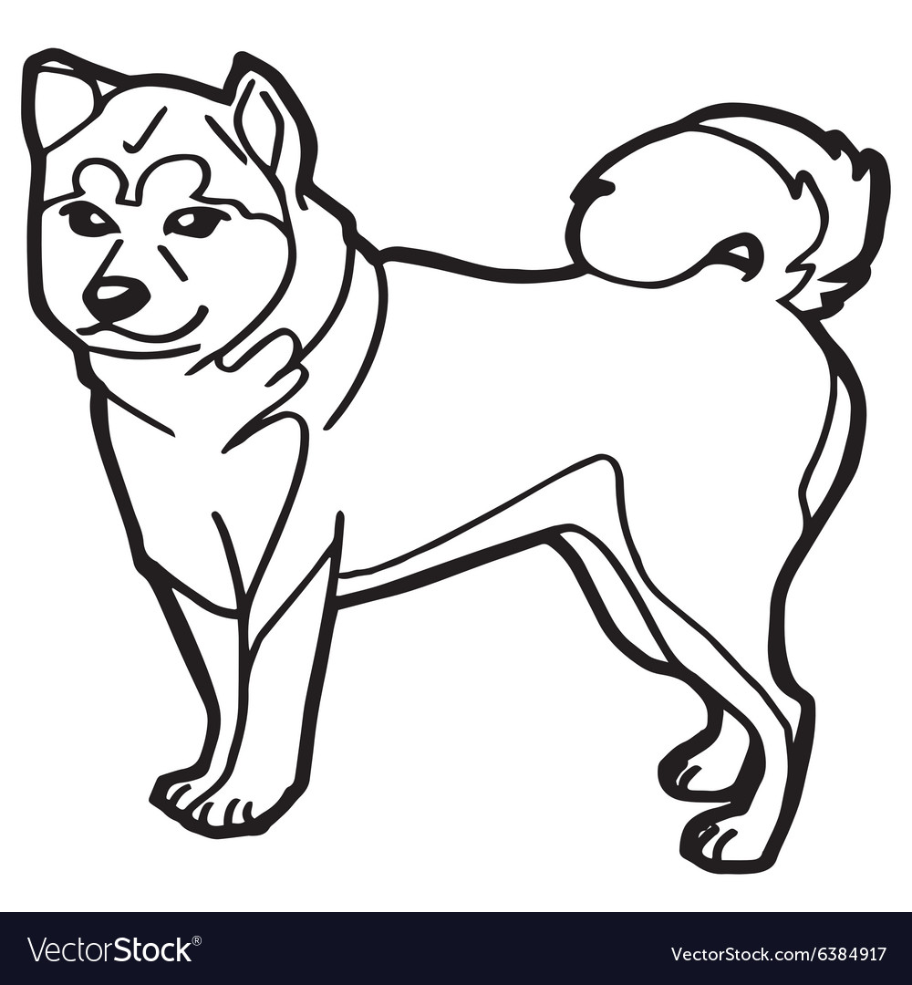 Dog and puppy coloring page Royalty Free Vector Image