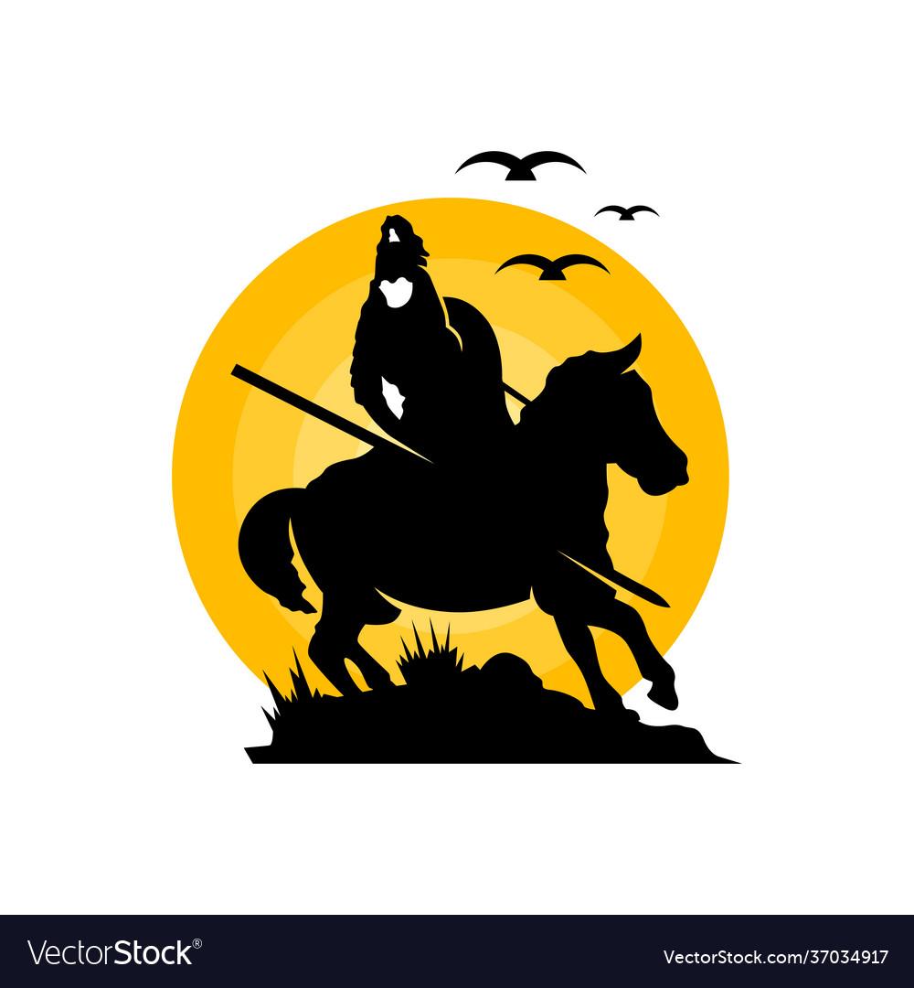 Equestrian archer warrior logo