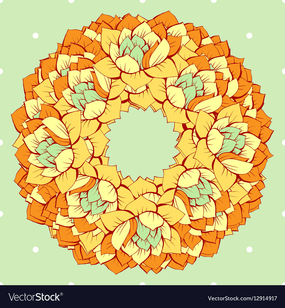 Floral yellow hand drawn wreath vector image