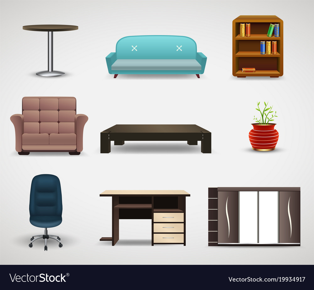 Furniture icons set of interior elements Vector Image