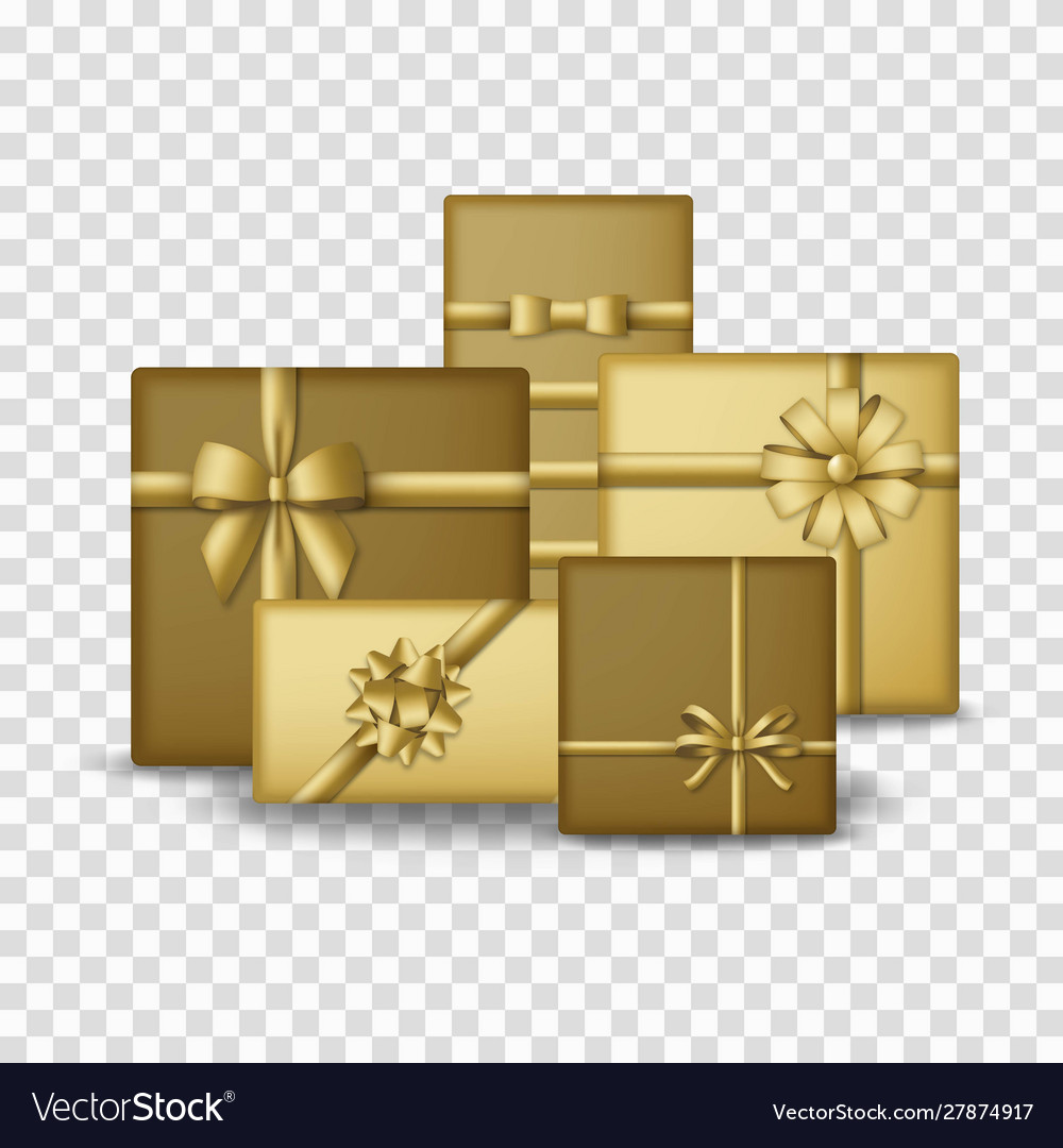 Gold colored gift boxes with golden ribbons and
