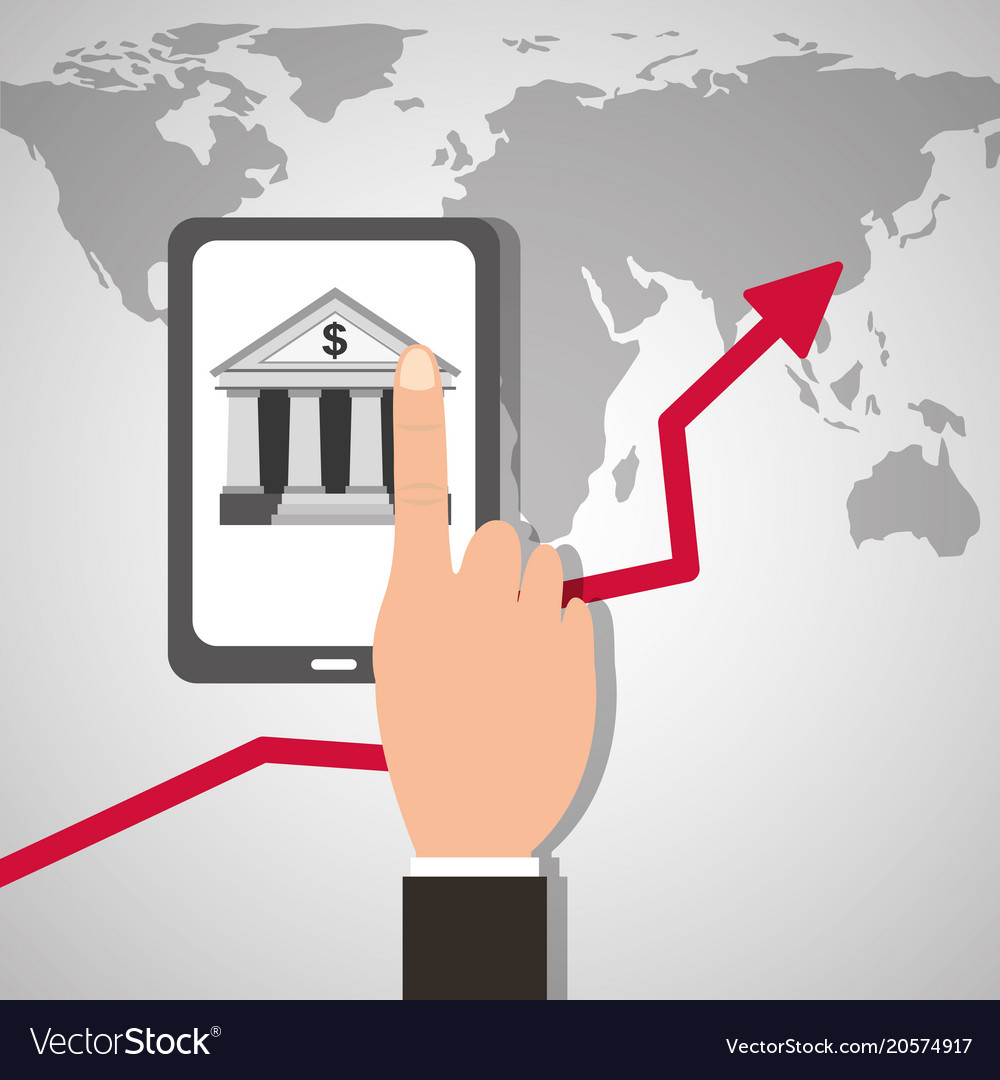 Hand with smartphone bank application world map vector image on vectorstock gumiabroncs Images