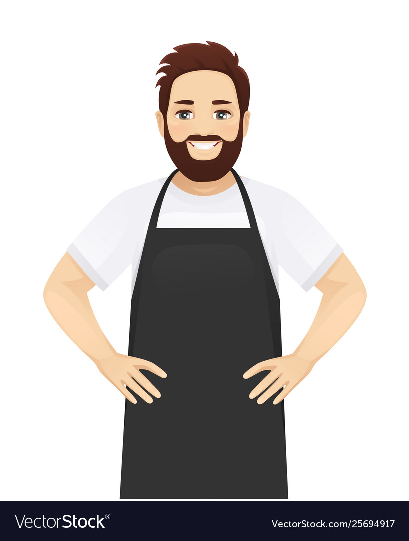 Handsome man in apron