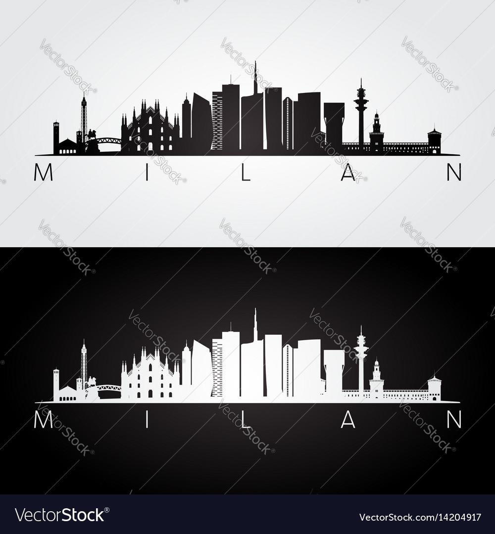 Milan skyline and landmarks silhouette