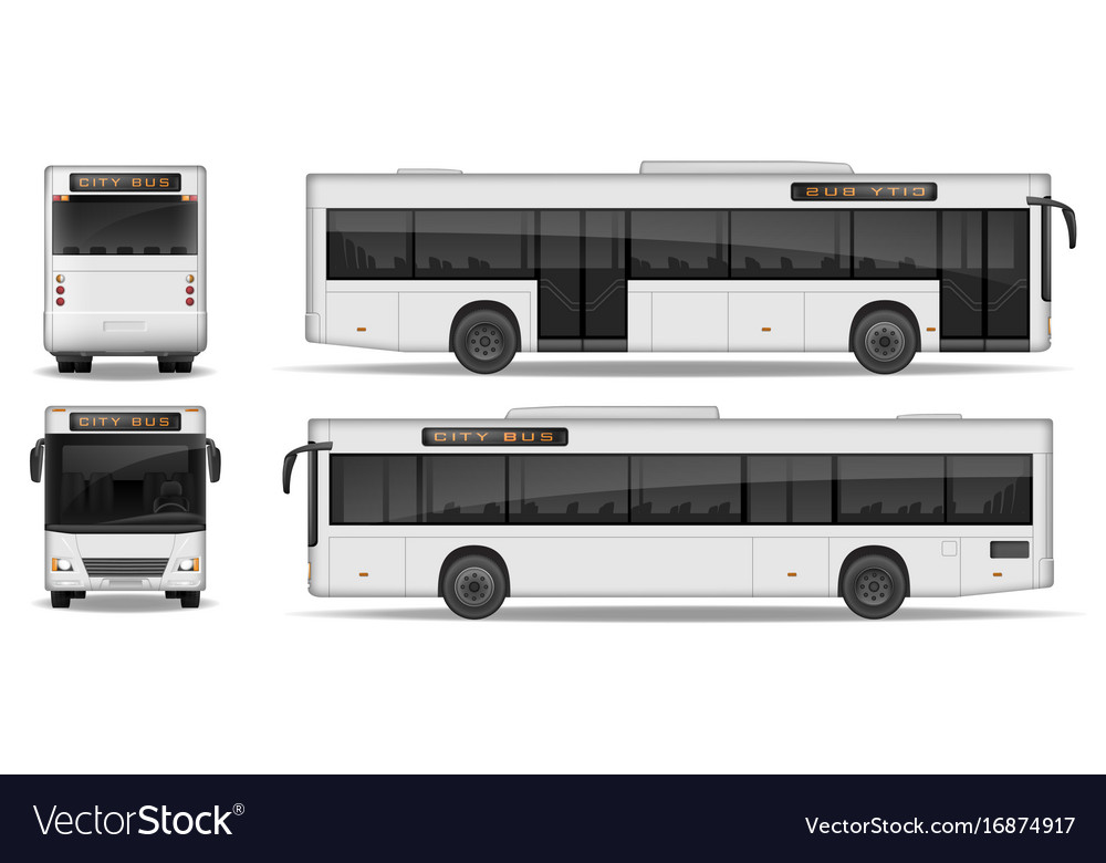 realistic city bus template isolated on white vector image