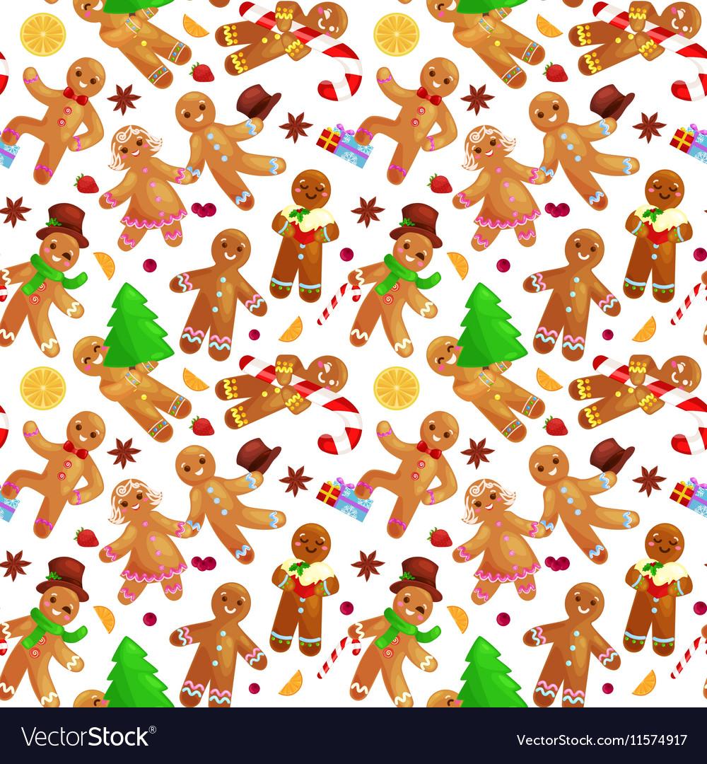 Seamless Pattern Christmas Cookies Gingerbread Man