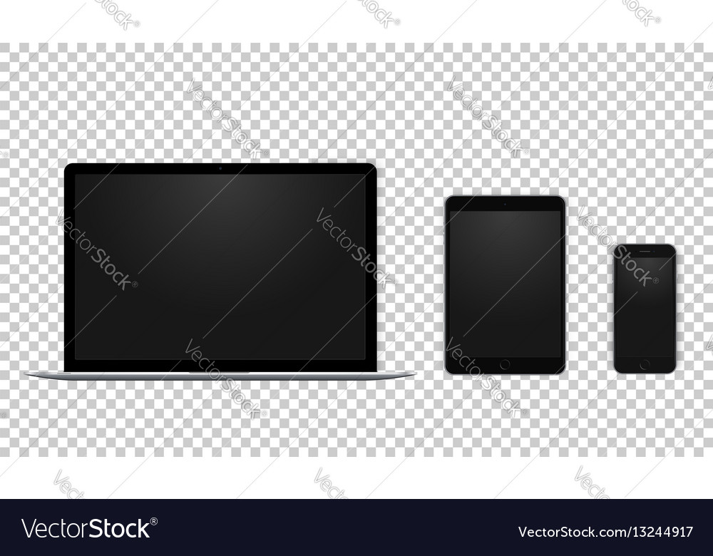 Set of black laptop tablet and phone all single