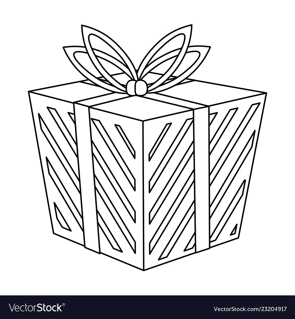 Shopping gift box in black and white